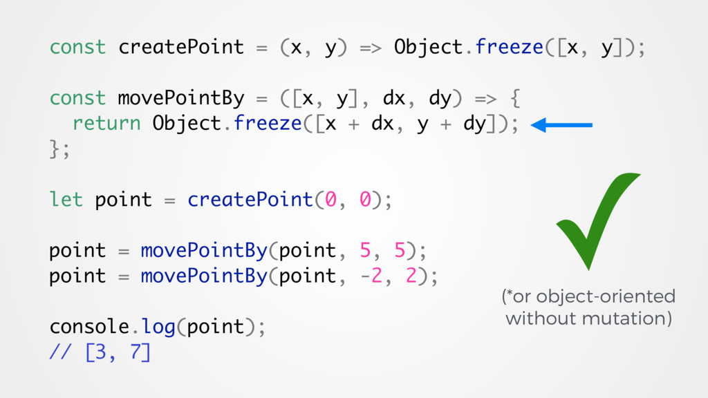 const createPoint = (x, y) => Object.freeze([x,...