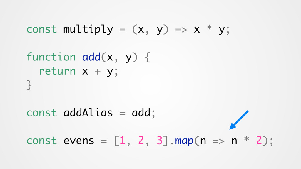 const multiply = (x, y) => x * y; function add(...