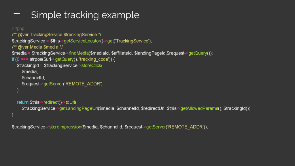 <?php /** @var TrackingService $trackingService...