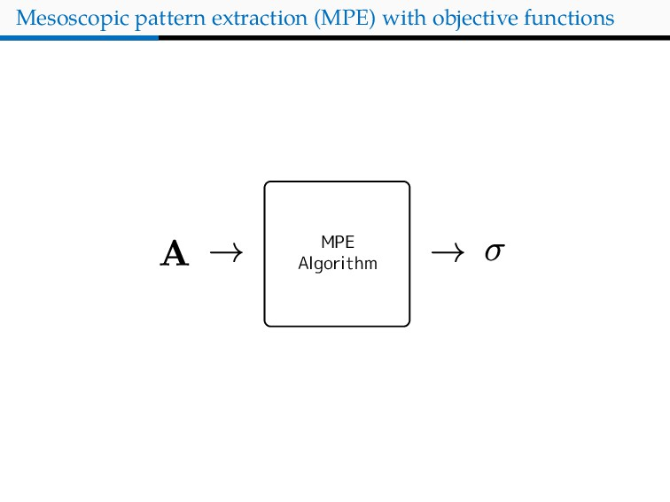 Mesoscopic pattern extraction (MPE) with object...