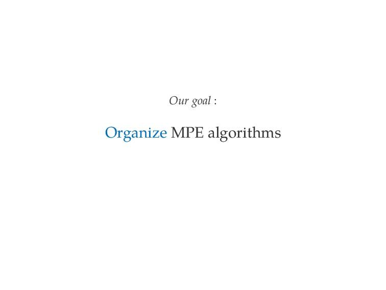 Our goal : Organize MPE algorithms