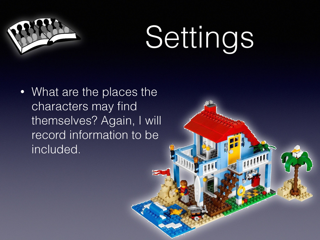 Settings • What are the places the characters m...