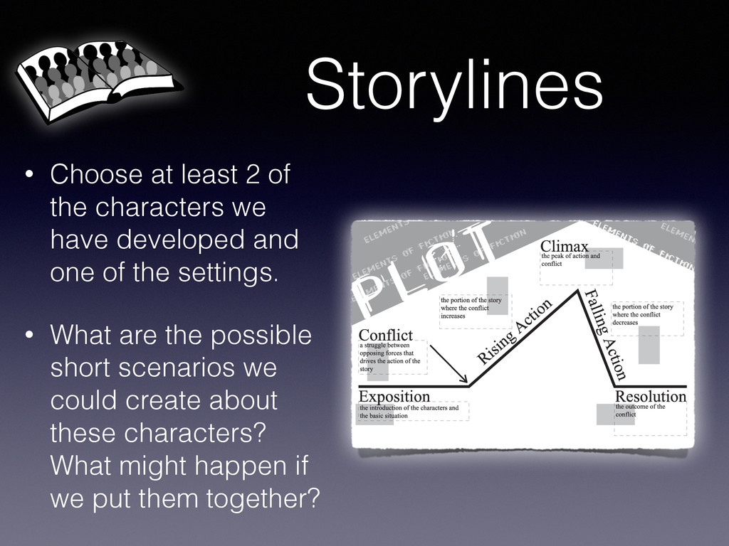 Storylines • Choose at least 2 of the character...
