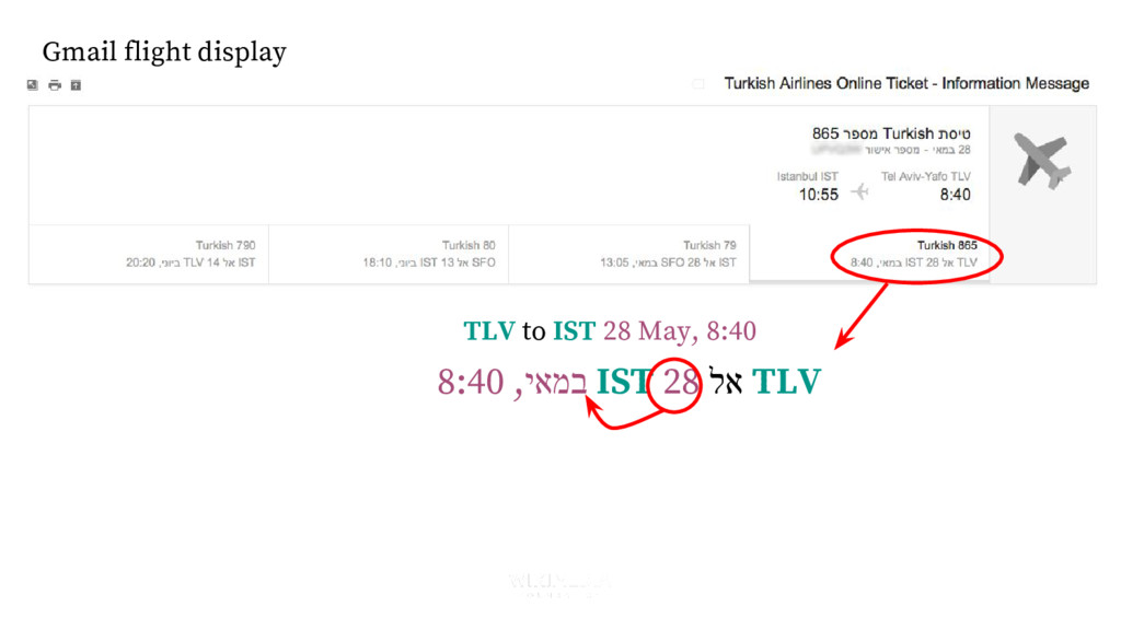 Gmail flight display 8:40 ,יאמב IST 28 לא TLV T...