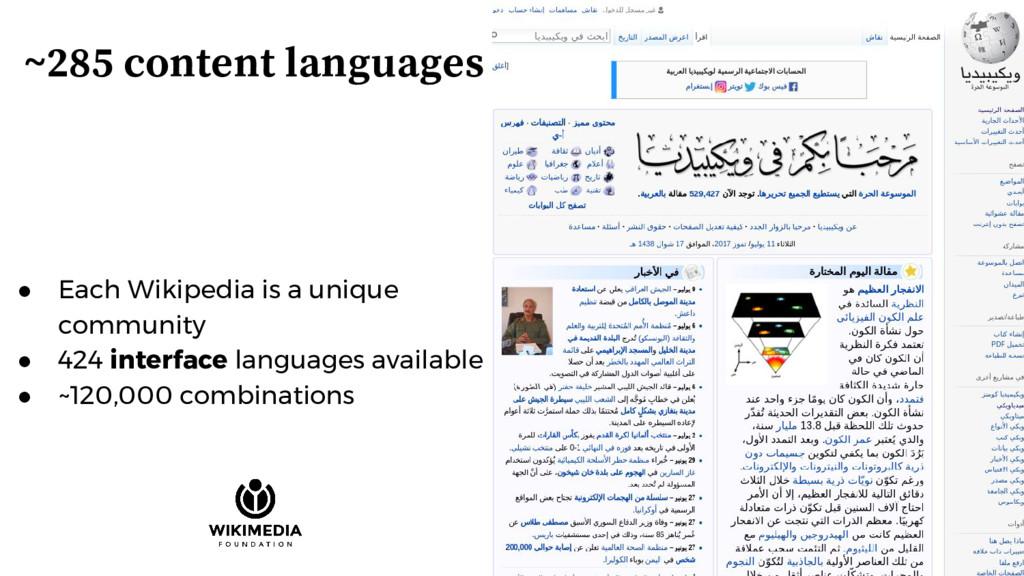 ~285 content languages ● Each Wikipedia is a un...