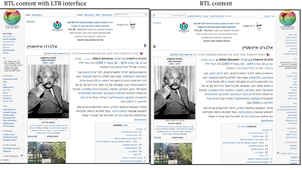 RTL content RTL content with LTR interface
