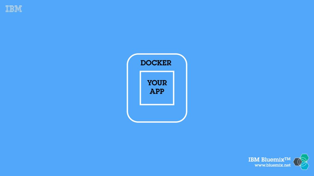 IBM BluemixTM www.bluemix.net YOUR APP DOCKER