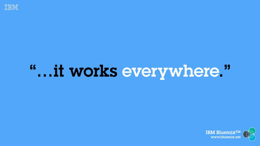 """IBM BluemixTM www.bluemix.net """"…it works everyw..."""
