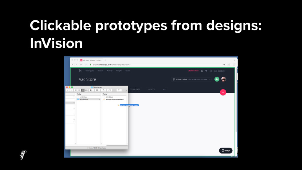 Clickable prototypes from designs: InVision