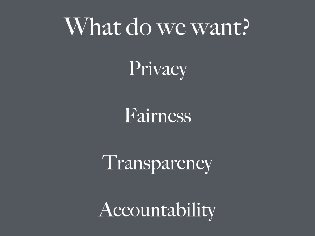 Privacy Fairness Transparency Accountability Wh...