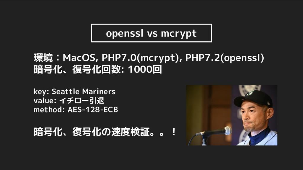 openssl vs mcrypt 環境:MacOS, PHP7.0(mcrypt), PHP...