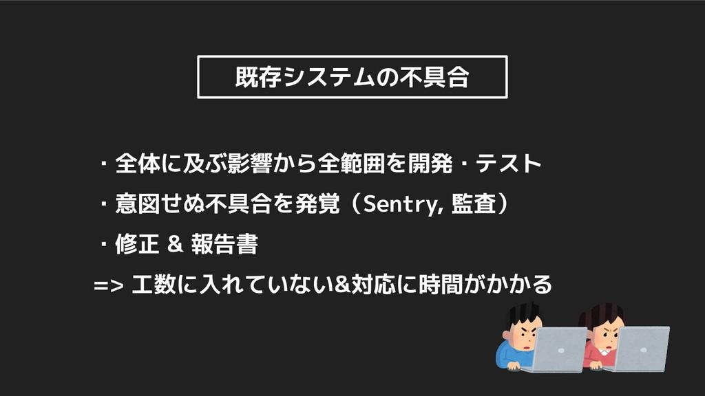 ・全体に及ぶ影響から全範囲を開発・テスト ・意図せぬ不具合を発覚(Sentry, 監査) ・修...