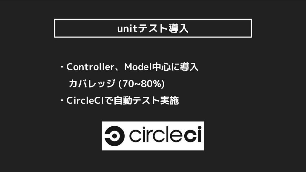 ・Controller、Model中心に導入 カバレッジ (70~80%) ・CircleCI...