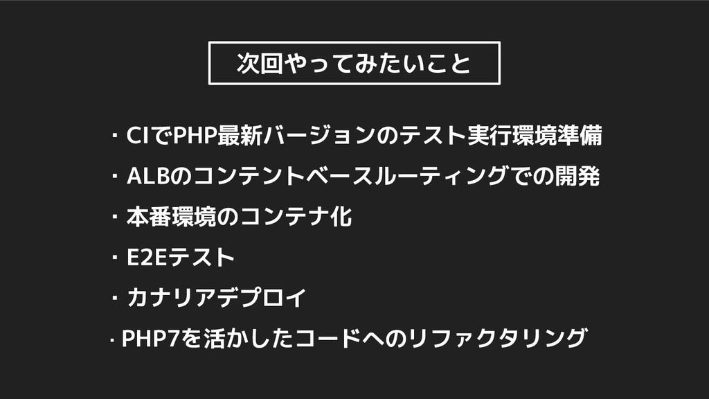 ・CIでPHP最新バージョンのテスト実行環境準備 ・ALBのコンテントベースルーティングでの開...