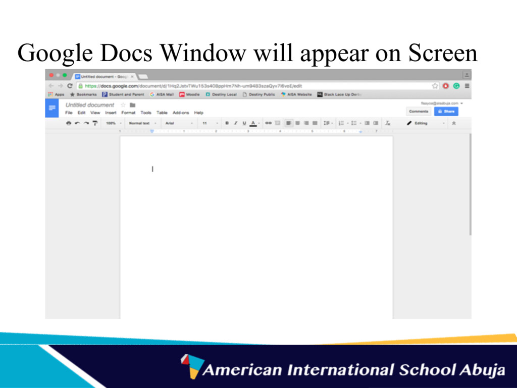 Google Docs Window will appear on Screen