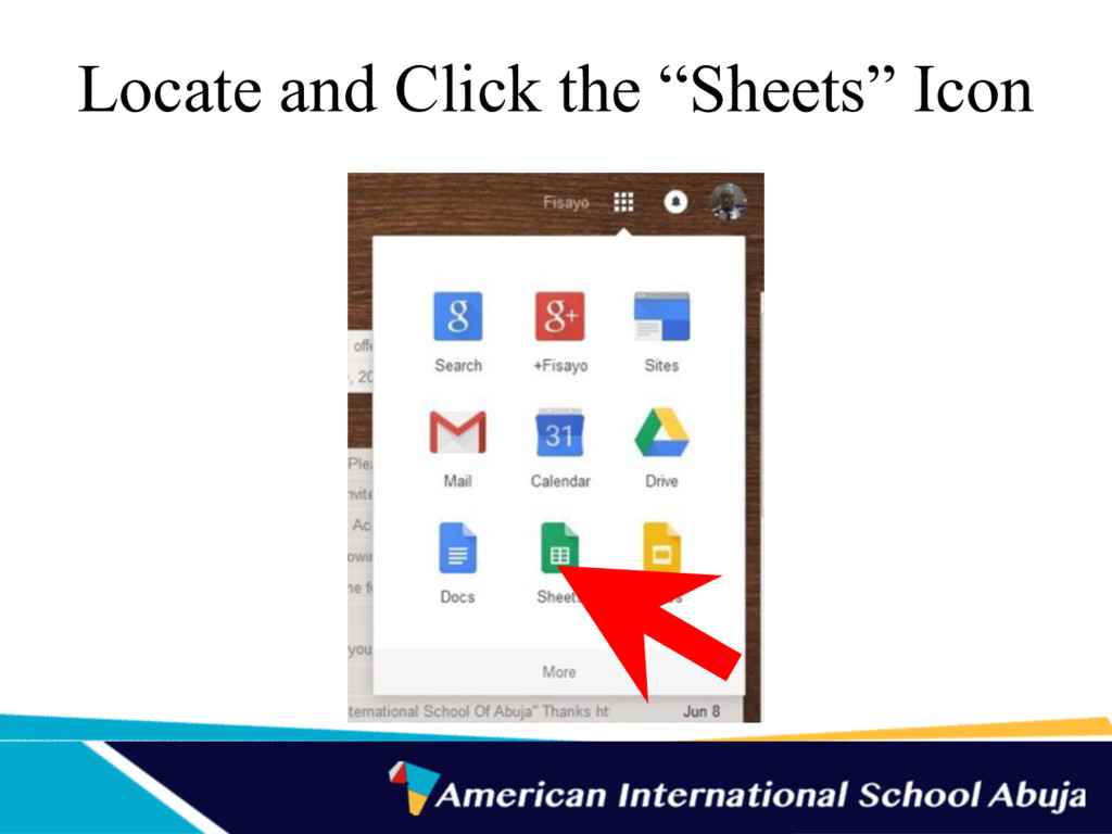 "Locate and Click the ""Sheets"" Icon"