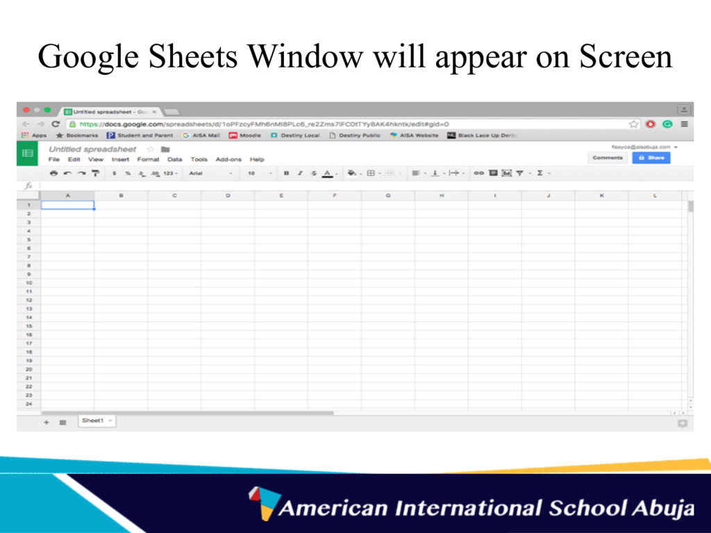 Google Sheets Window will appear on Screen