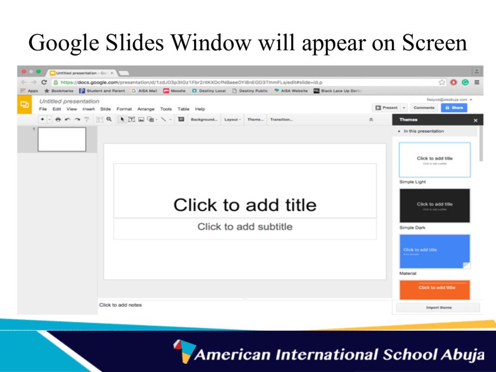 Google Slides Window will appear on Screen
