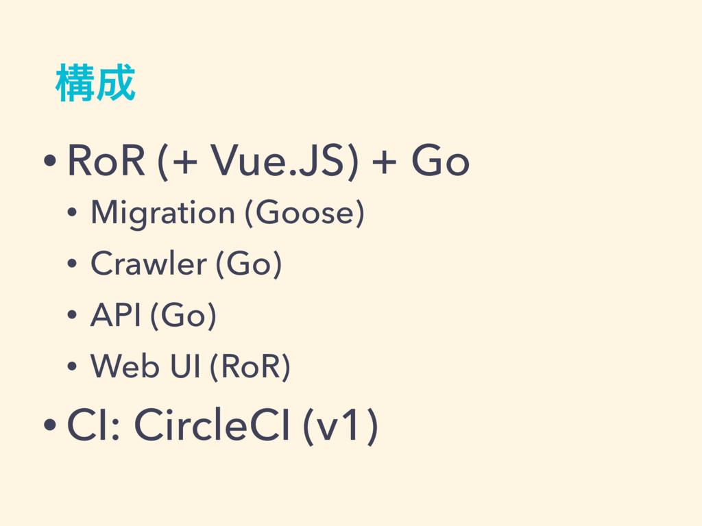 ߏ • RoR (+ Vue.JS) + Go • Migration (Goose) • ...