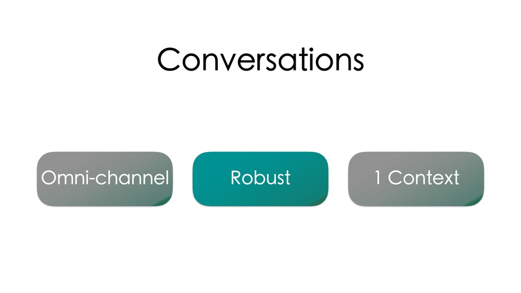 Conversations 1 Context Omni-channel Robust