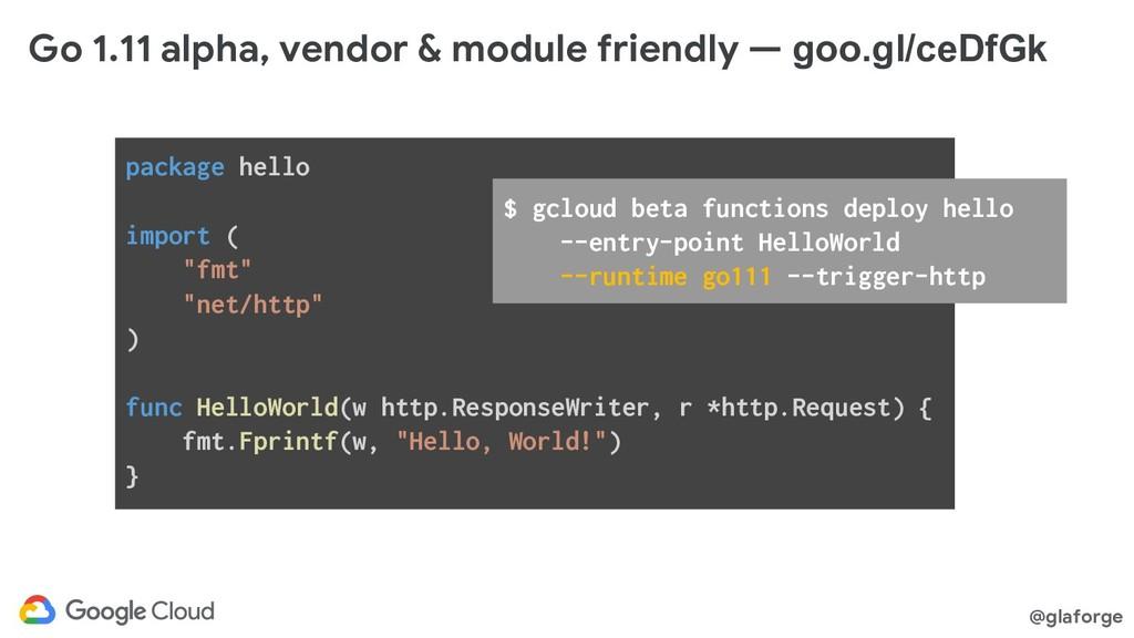 @glaforge Go 1.11 alpha, vendor & module friend...