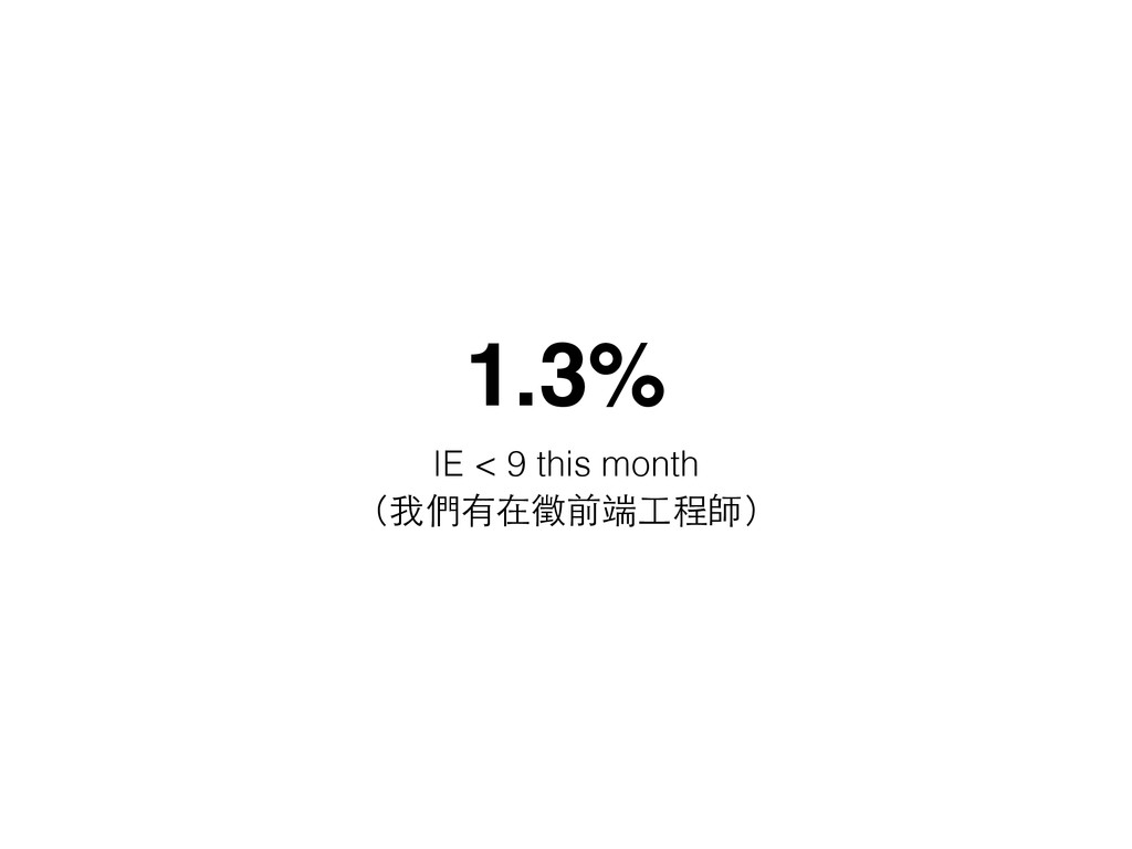 1.3% IE < 9 this month (我們有在徵前端⼯工程師)