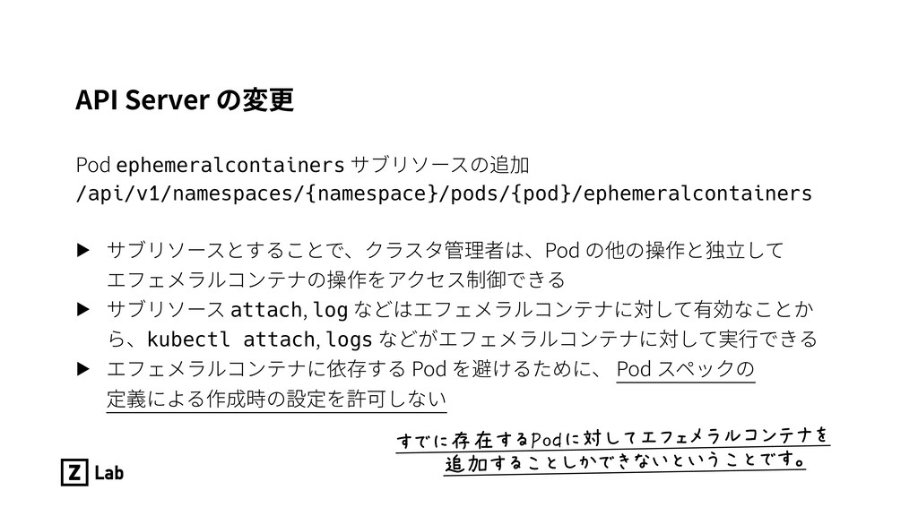 API Server の変更 Pod ephemeralcontainers サブリソースの追...