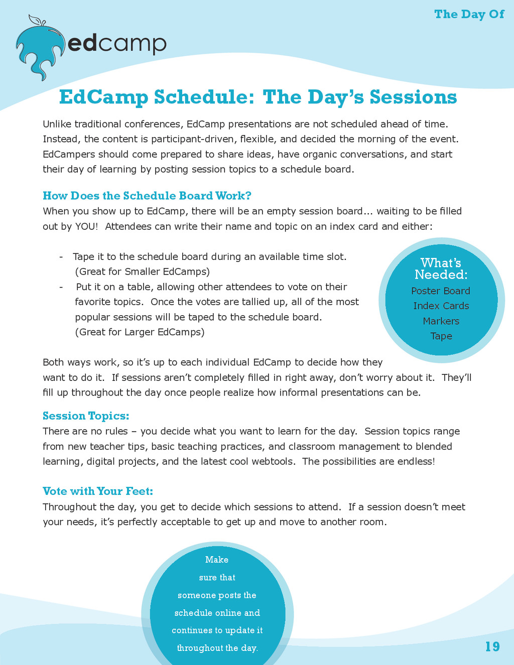 The Day Of 19 EdCamp Schedule: The Day's Sessio...