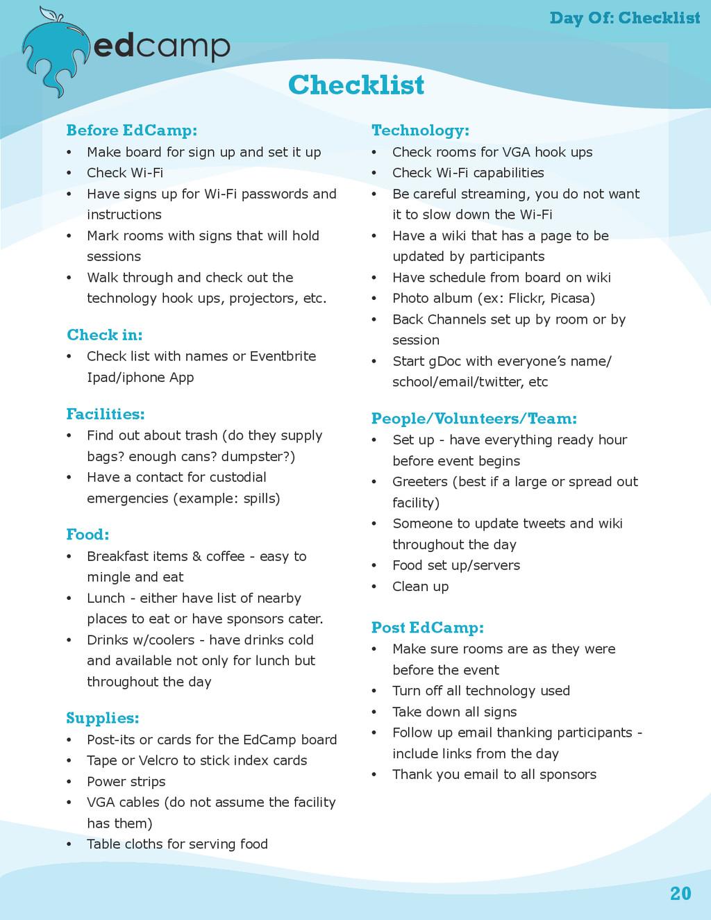 20 Day Of: Checklist Checklist Before EdCamp: •...