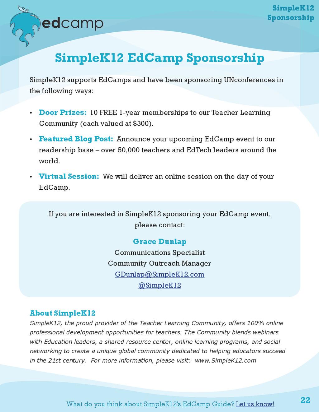 22 SimpleK12 EdCamp Sponsorship SimpleK12 suppo...