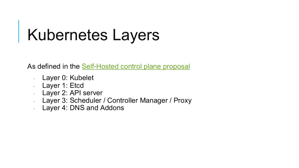 Kubernetes Layers As defined in the Self-Hosted...