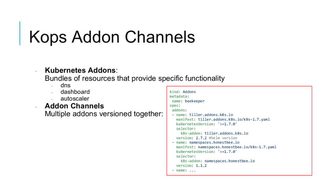 Kops Addon Channels - Kubernetes Addons: Bundle...