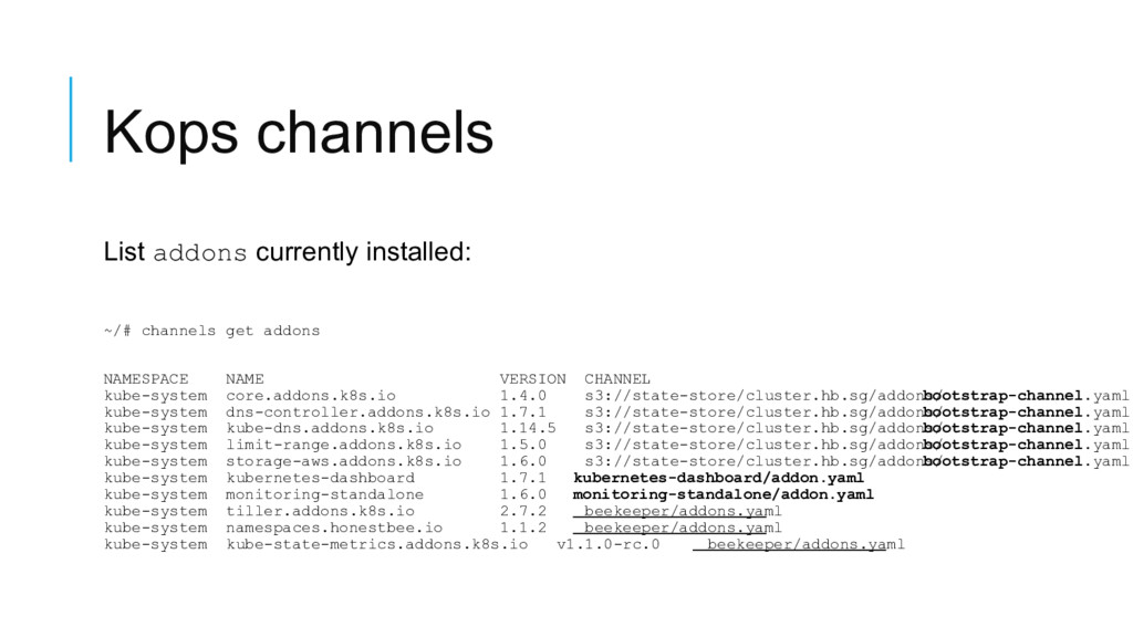 Kops channels List addons currently installed: ...