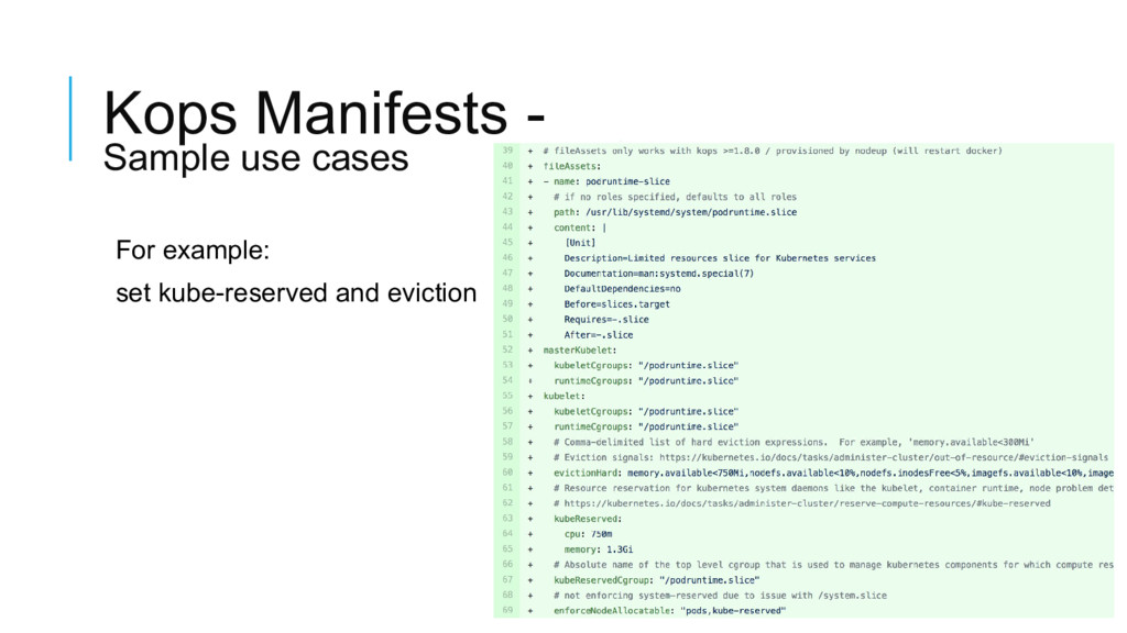 Kops Manifests - Sample use cases For example: ...