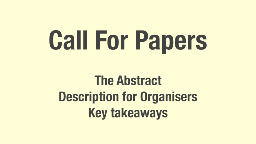 Call For Papers The Abstract Description for Or...