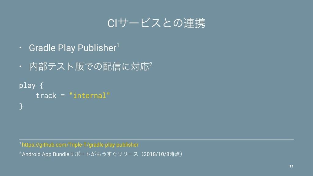 CIαʔϏεͱͷ࿈ܞ • Gradle Play Publisher1 • ෦ςετ൛Ͱͷ...