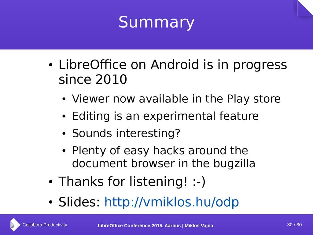 30 / 30 LibreOffice Conference 2015, Aarhus | M...