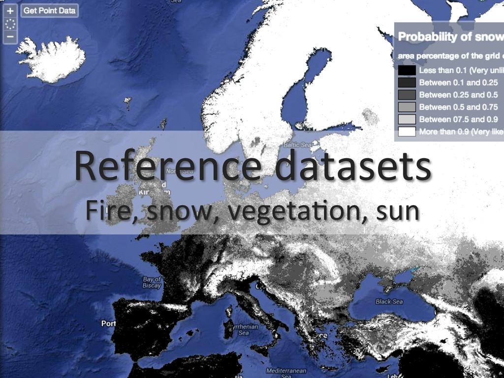 Reference datasets  Fire, snow, veg...