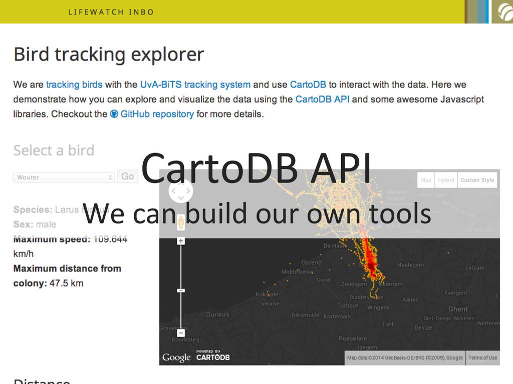 CartoDB API  We can build our ...