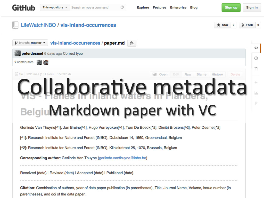 Collabora0ve metadata  Markdown paper...