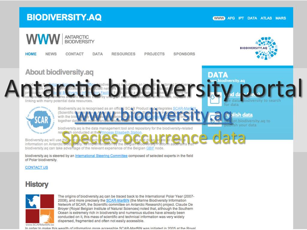Antarc0c biodiversity portal  www.biod...