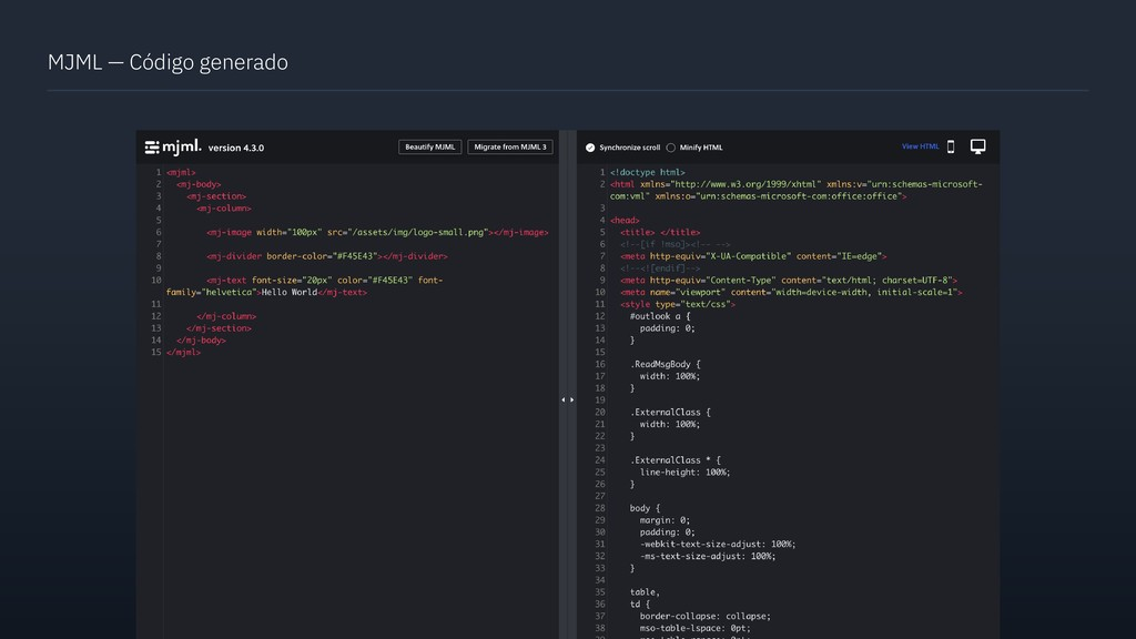 MJML — Código generado