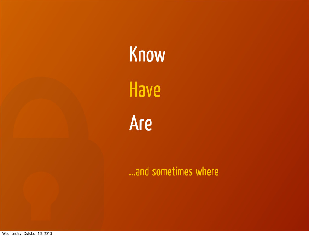 Know Have Are ...and sometimes where Wednesday,...