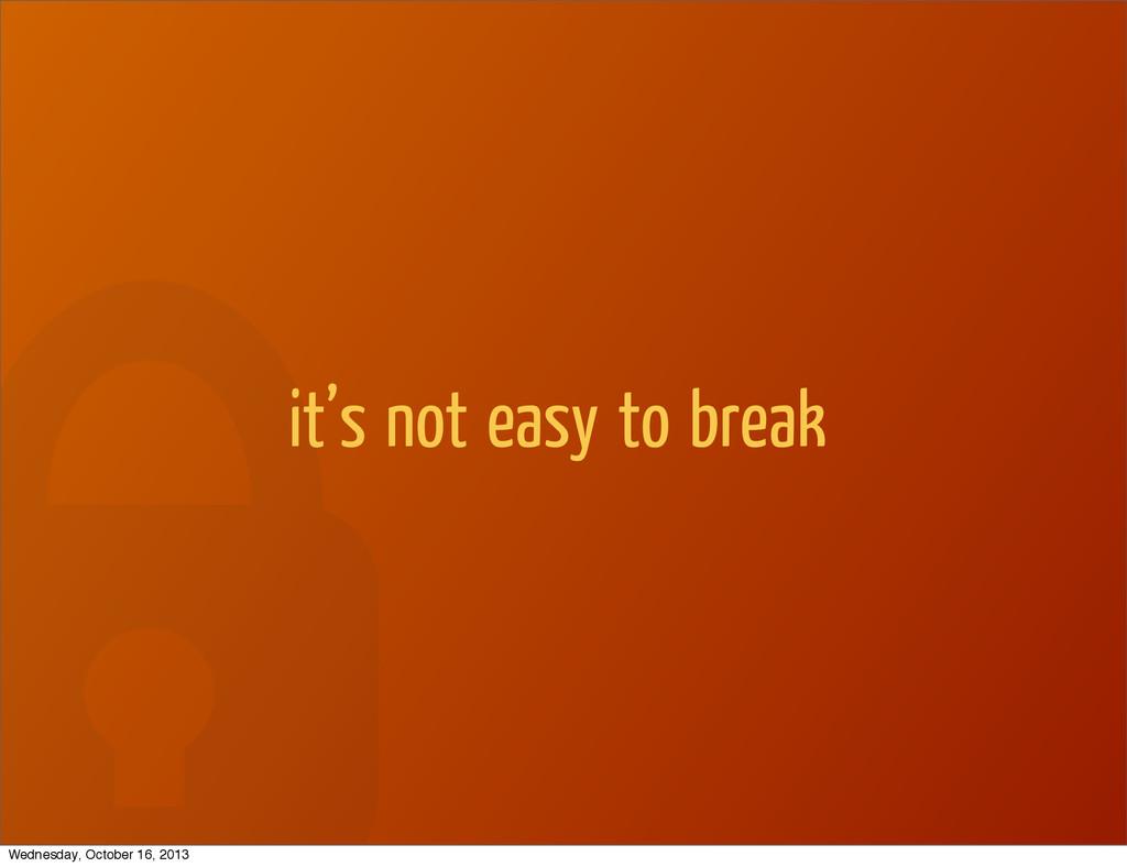 it's not easy to break Wednesday, October 16, 2...