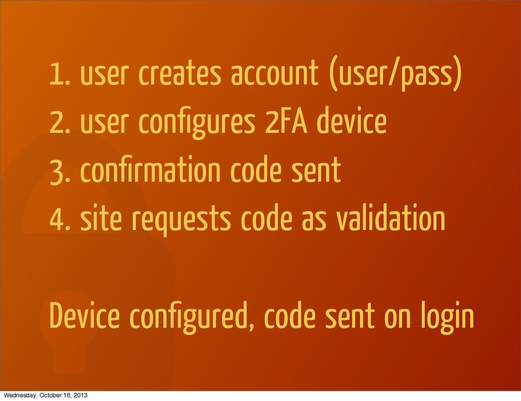1. user creates account (user/pass) 2. user con...