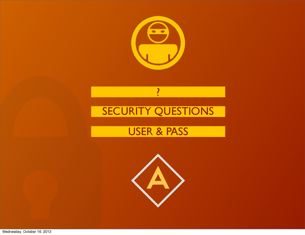 A USER & PASS SECURITY QUESTIONS ? Wednesday, O...