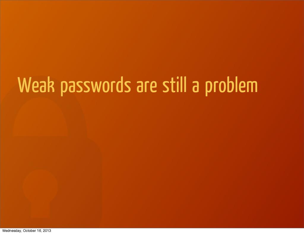Weak passwords are still a problem Wednesday, O...