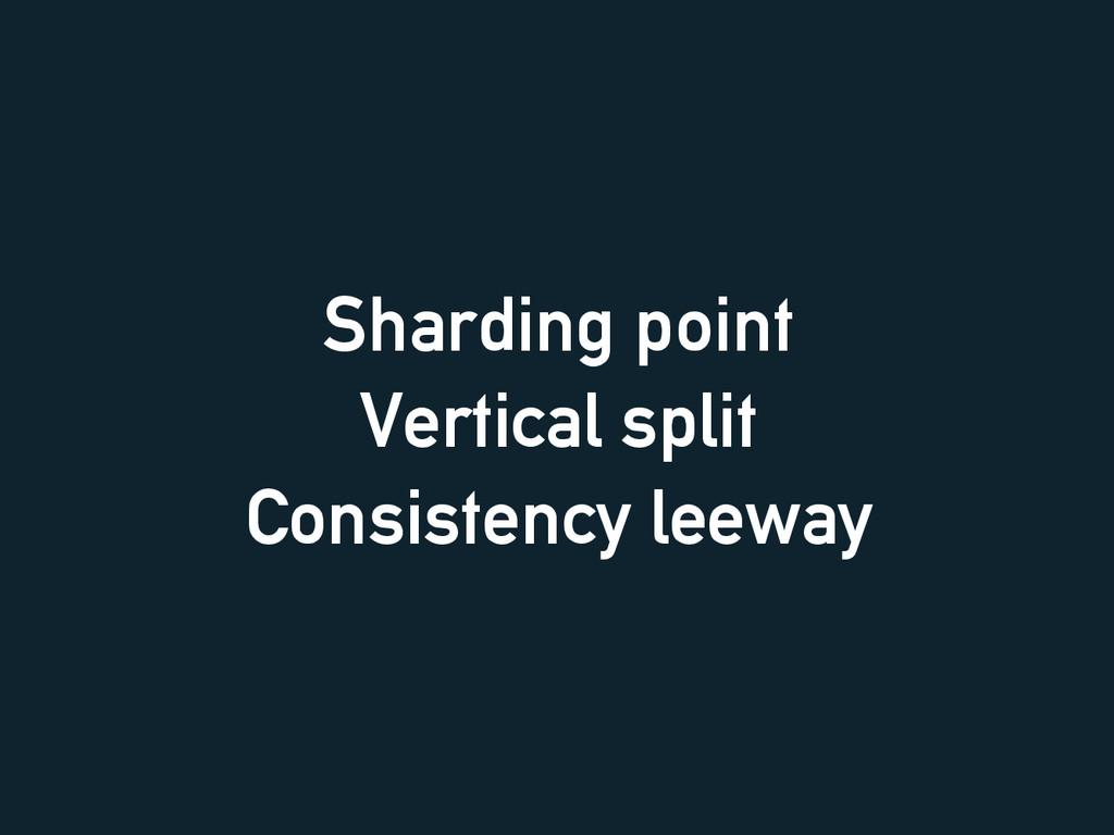 Sharding point Vertical split Consistency leeway