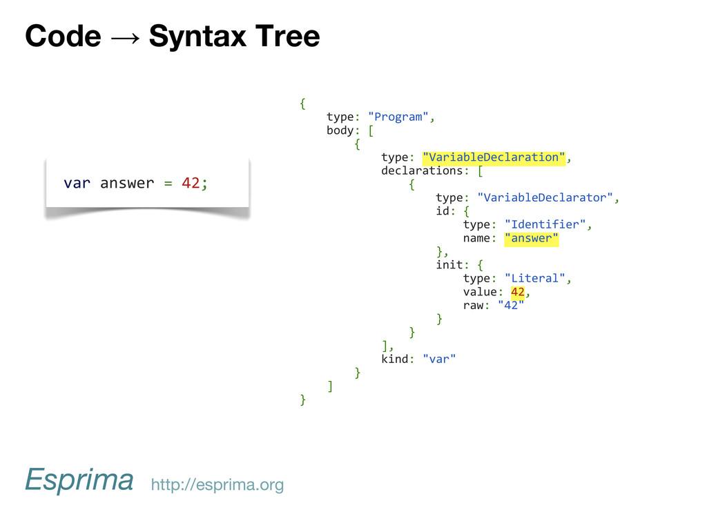 "{ type: ""Program"", body: [ { type: ""VariableDec..."