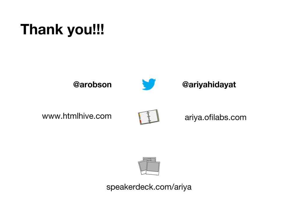 Thank you!!! @ariyahidayat @arobson www.htmlhiv...